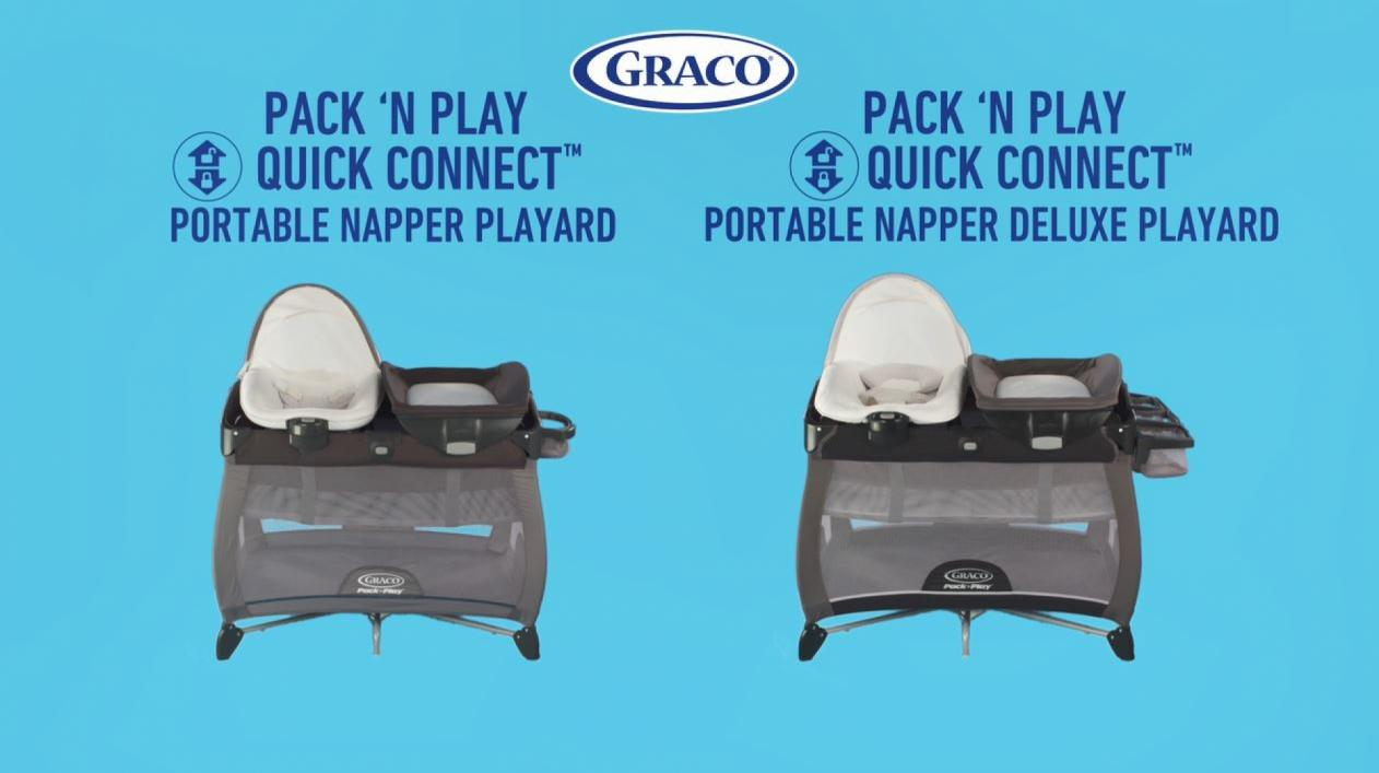 Graco Pack 'n Play Alexa Quick Connect Portable Napper in Grey