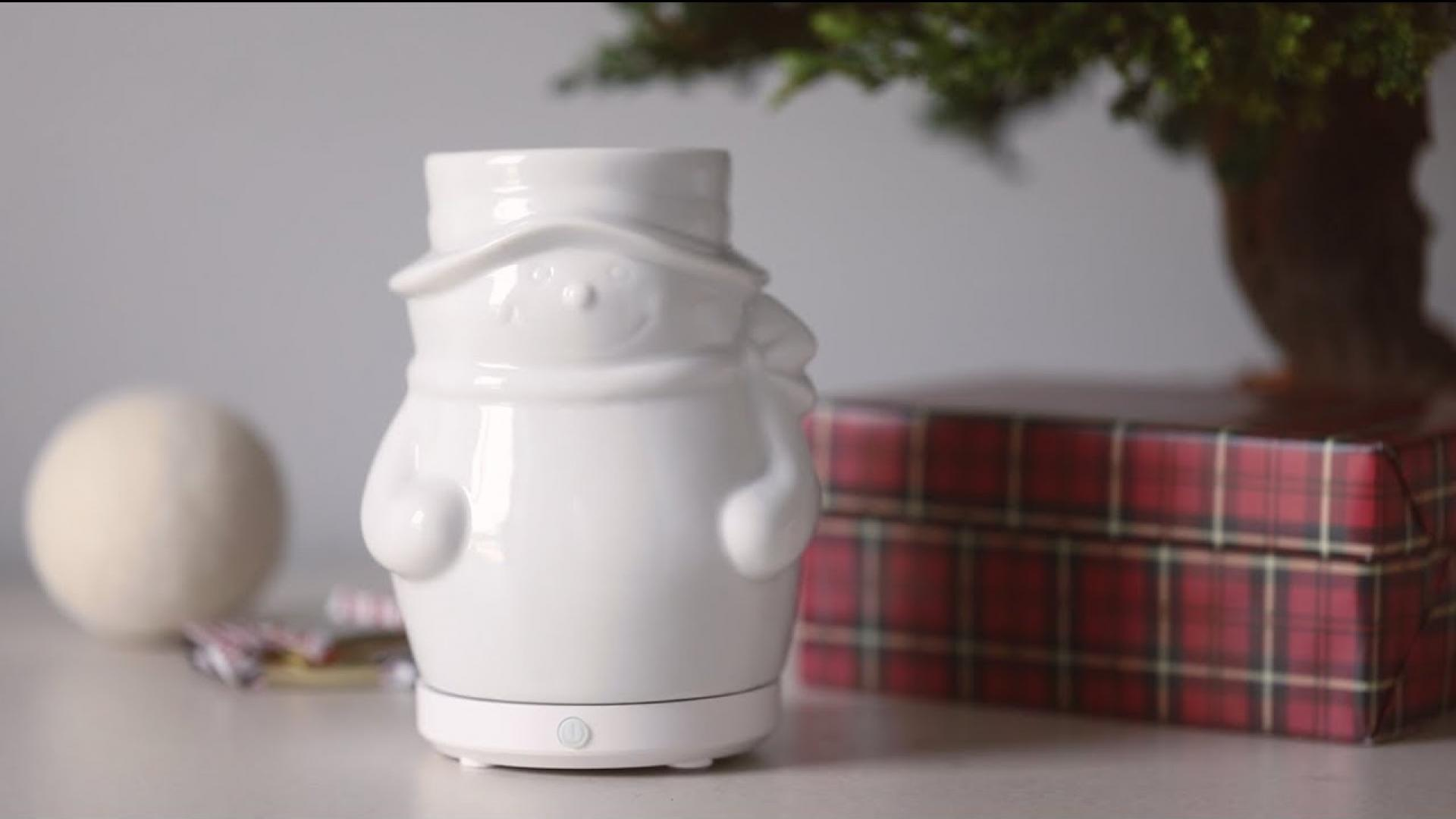 SpaRoom Snowman Ceramic Holiday Ultrasonic Essential Oil Diffuser
