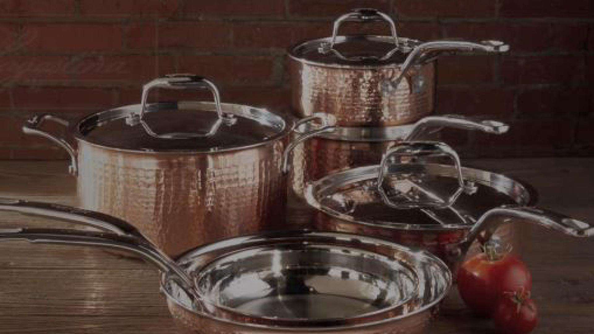 Lagostina Martellata Tri-Ply Copper 10-Piece Cookware Set