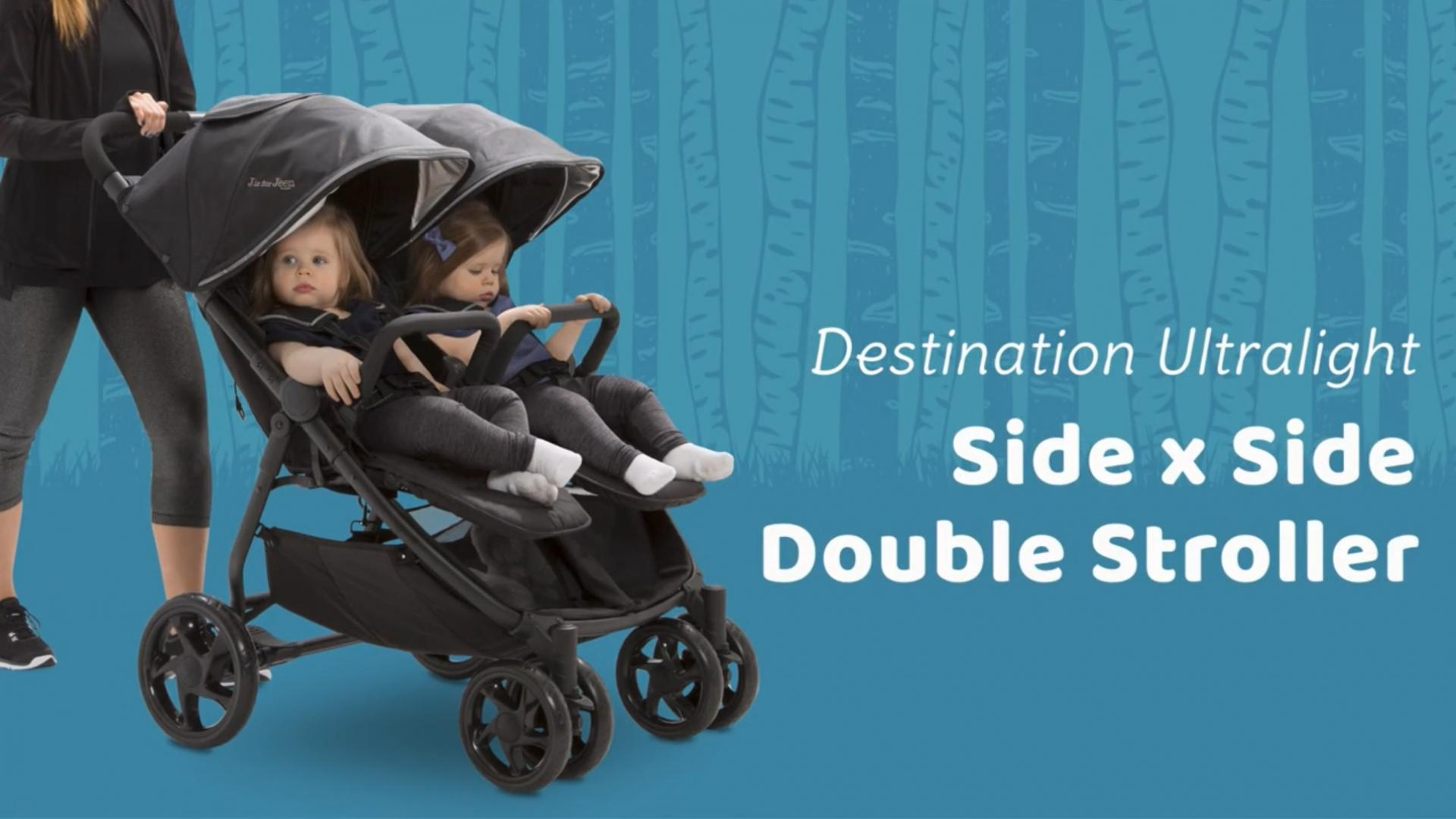J is for Jeep Destination Ultralight Double Stroller in Midnight